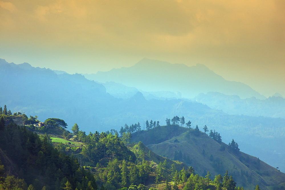 Asia, Southeast Asia, Indonesia, Sulawesi, Tana Toraja, view over a Torajan highland landscape