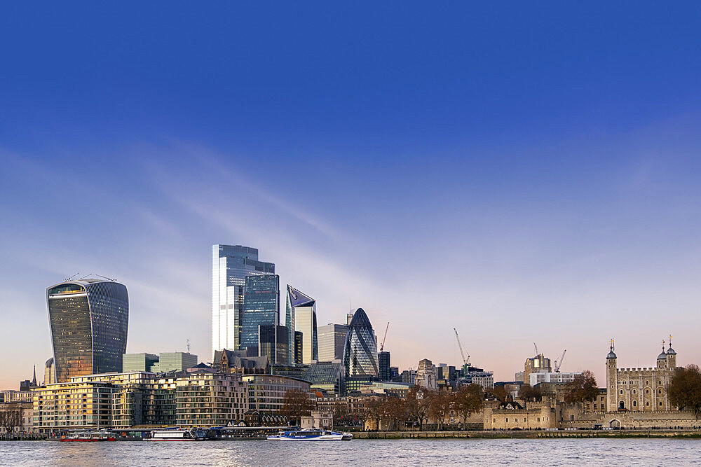 City of London skyline with The Tower of London, the Gherkin, Scalpel & Twenty Two Bishopsgate, the tallest building in the City