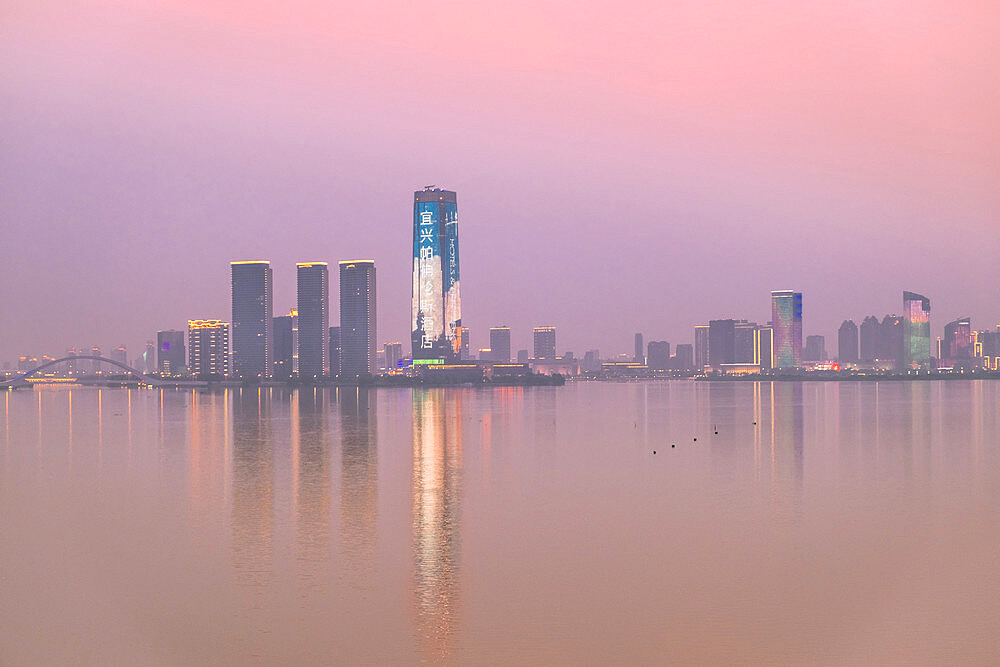 The skyline of Yixing city, capital of ceramics in Jiangsu, China