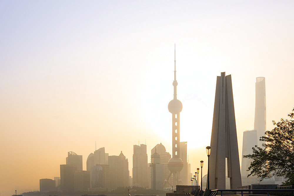 View of the skyline of Pudong district at dawn, Shanghai, China, Asia