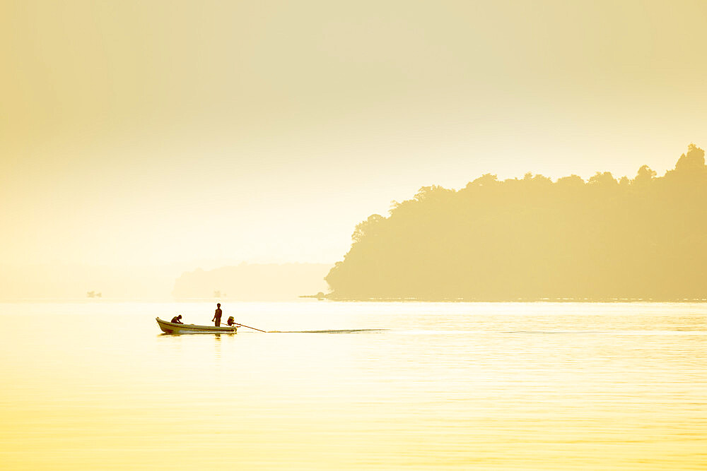 A fishing boat on a calm sea, Rong Islands
