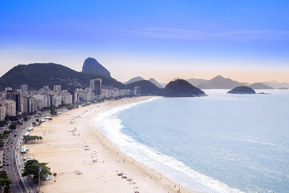 Elevated view of the beach and the Atlantic Ocean, Copacabana, Rio de Janeiro, Brazil, South America