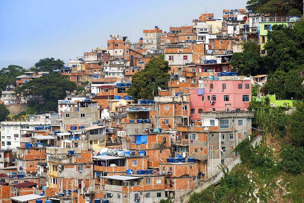 Copacabana neighbourhood and the Pavao Pavaozinho favela slum, Copacabana, Rio de Janeiro, Brazil, South America