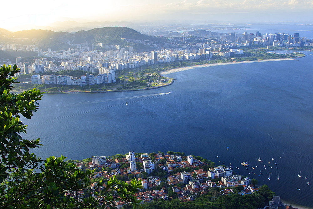 Urca (foreground) and Flamengo (background) neighbourhoods with central Rio de Janeiro in the distance and Guanabara Bay