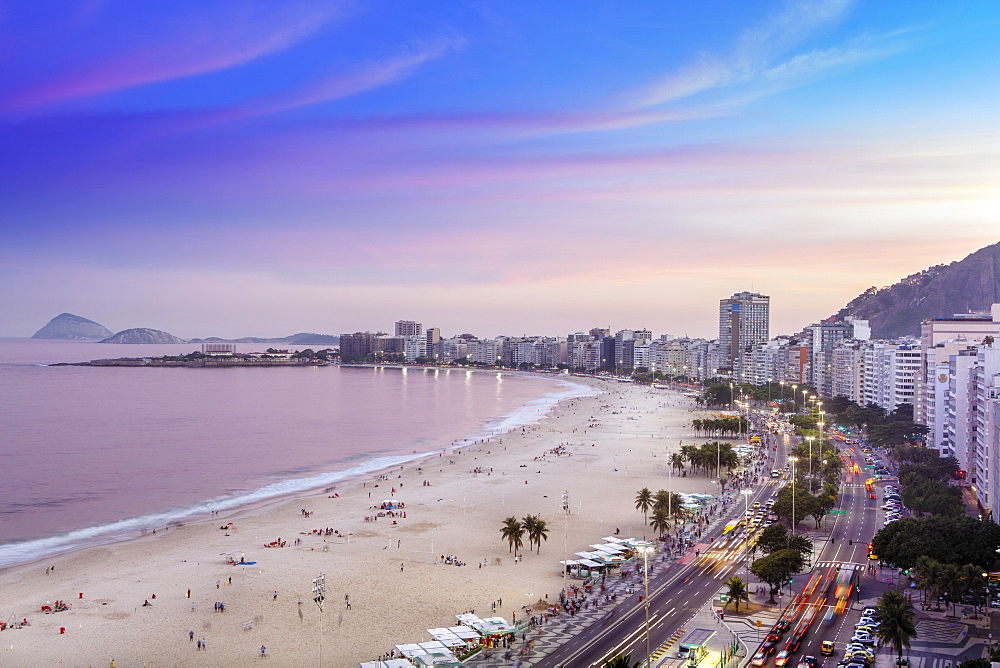 View of Copacabana Beach and Avenida Atlantica boulevard in Rio de Janeiro, Brazil, South America