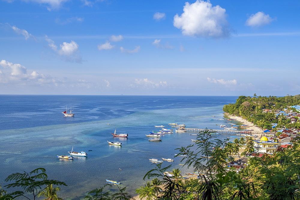 Indonesia, Spice Islands, Banda Besar. Elevated view of the main village of Banda Besar