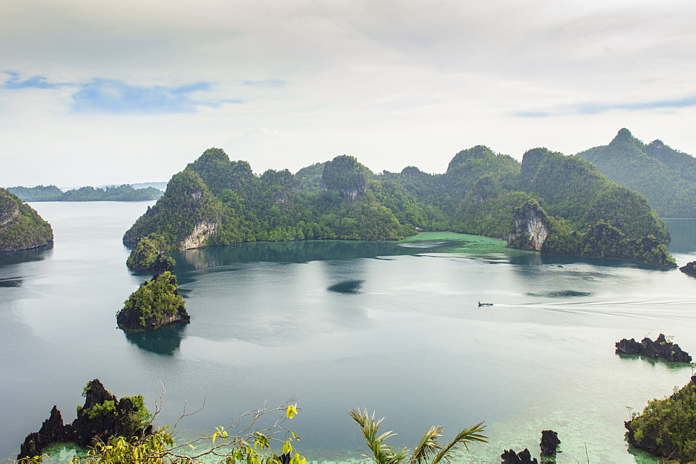 View of limestone islets from the Piaynemo Island lookout, Raja Ampat, West Papua, Spice Islands, Indonesia, Southeast Asia, Asia
