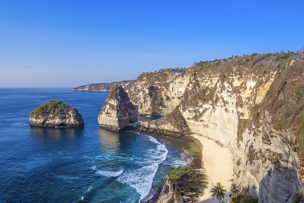 Nusa Penida island, Bali, Indonesia. View of Atuh beach and sandstone cliffs