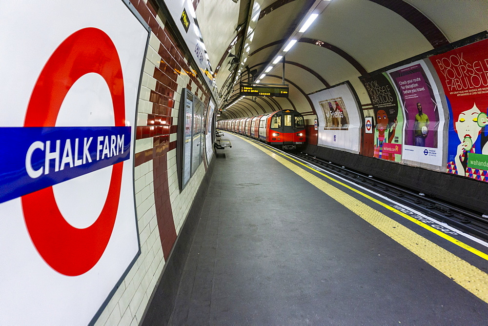 Interior of Chalk Farm Underground station on the Northern Line, empty during the Covid-19 lockdown, London, England, United Kingdom, Europe