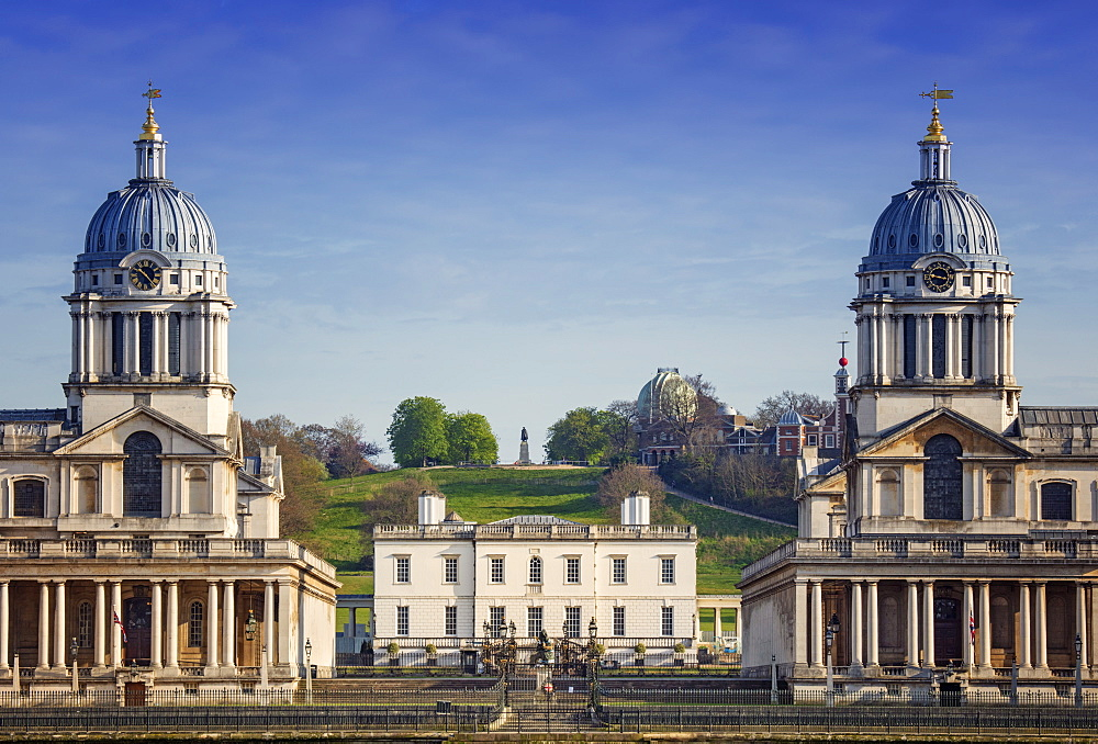 Greenwich Park, the Royal Observatory up on the hill, the Queen's House by Inigo Jones and Christopher Wren's Royal Naval College, Greenwich, London, England, United Kingdom, Europe
