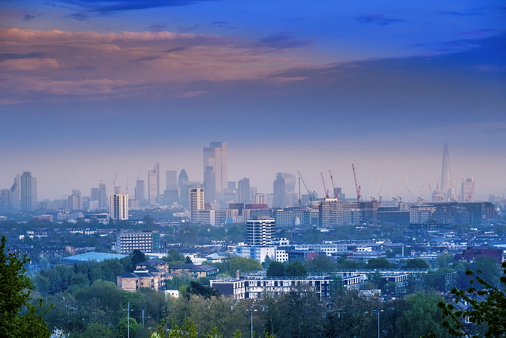 View of the City of London skyline from Parliament Hill on Hampstead Heath, London, England, United Kingdom, Europe