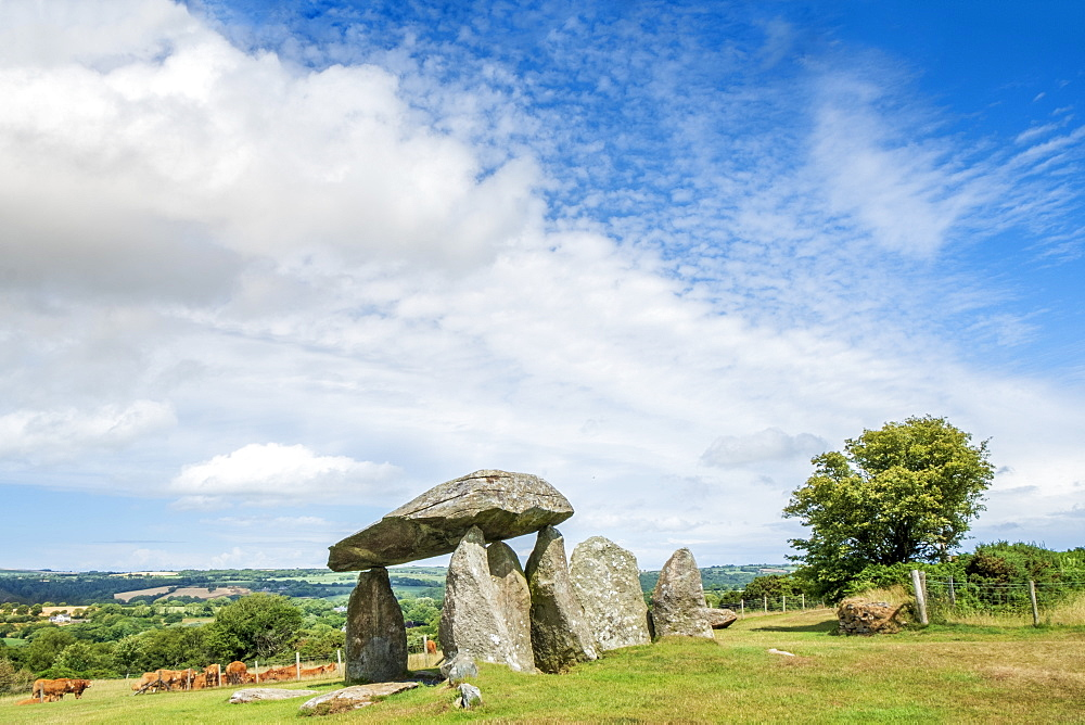 Pentre Ifan Neolithic (New Stone Age) burial chamber in the Preseli Hills, Nevern, Pembrokeshire, Wales, United Kingdom, Europe