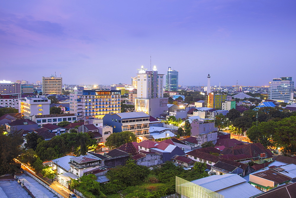View of the skyline of Makassar City in Sulawesi, Indonesia, Southeast Asia, Asia
