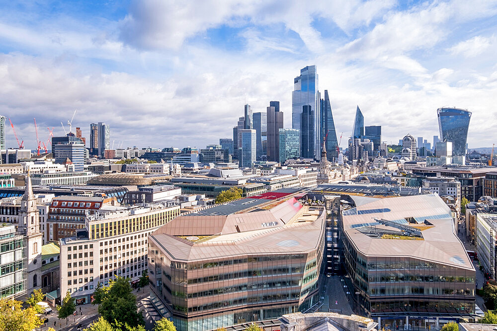 The skyscrapers of the City of London business and financial district with the One New Change shopping centre in the foreground, London, England, United Kingdom, Europe - 1176-1359