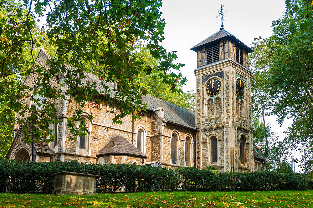 The medieval church and graveyard of Old St. Pancras, Kings Cross, London, England, United Kingdom, Europe - 1176-1368