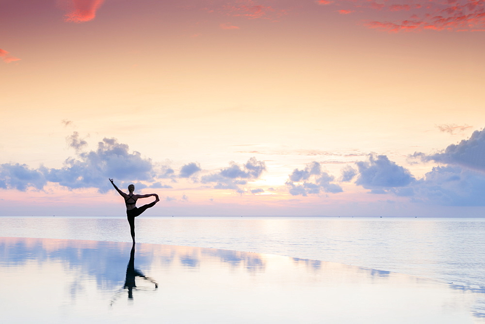 Stock photo of Yoga at dawn
