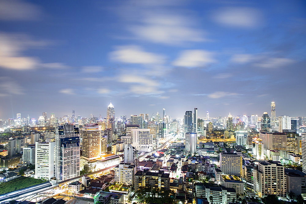 City skyline at night, Bangkok, Thailand, Southeast Asia, Asia
