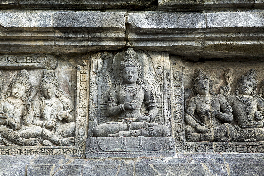 Hindu carvings on the Prambanan temples, UNESCO World Heritage Site, near Yogyakarta, Java, Indonesia, Southeast Asia, Asia