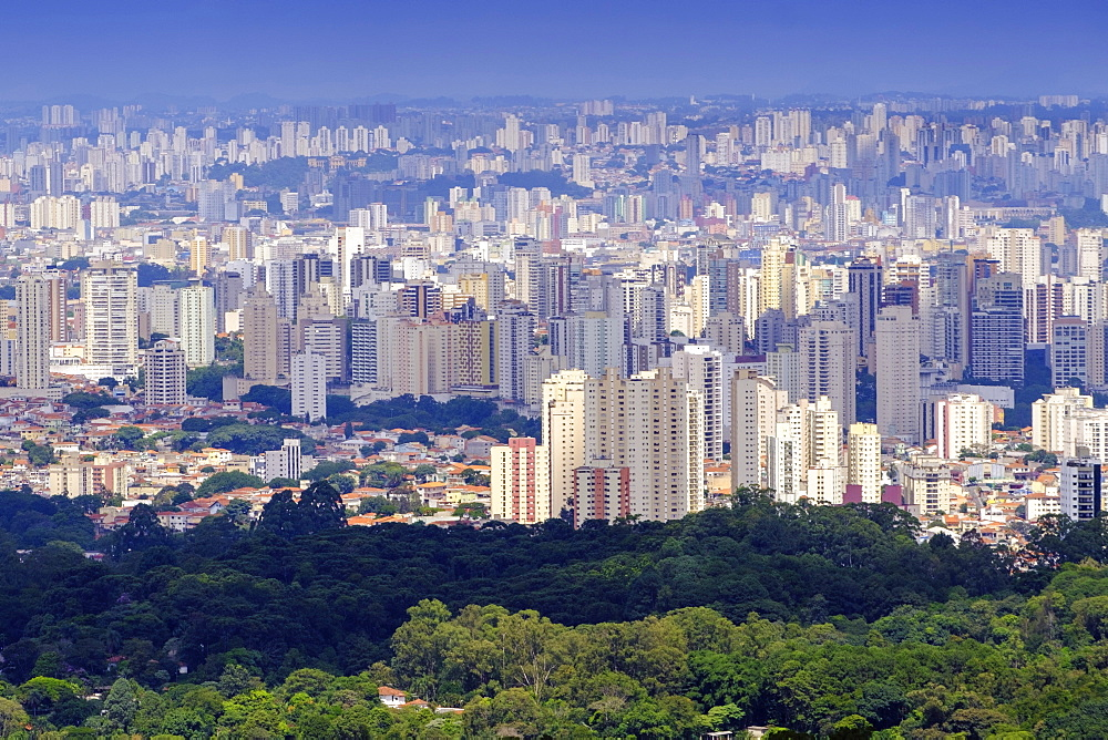 View of Sao Paulo city from the Serra da Cantareira State Park, Sao Paulo, Brazil, South America