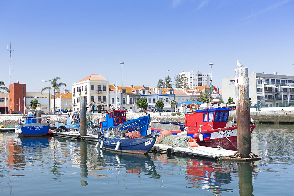 Fishing boat quay in the port city of Setubal, Portugal, Europe - 1176-755