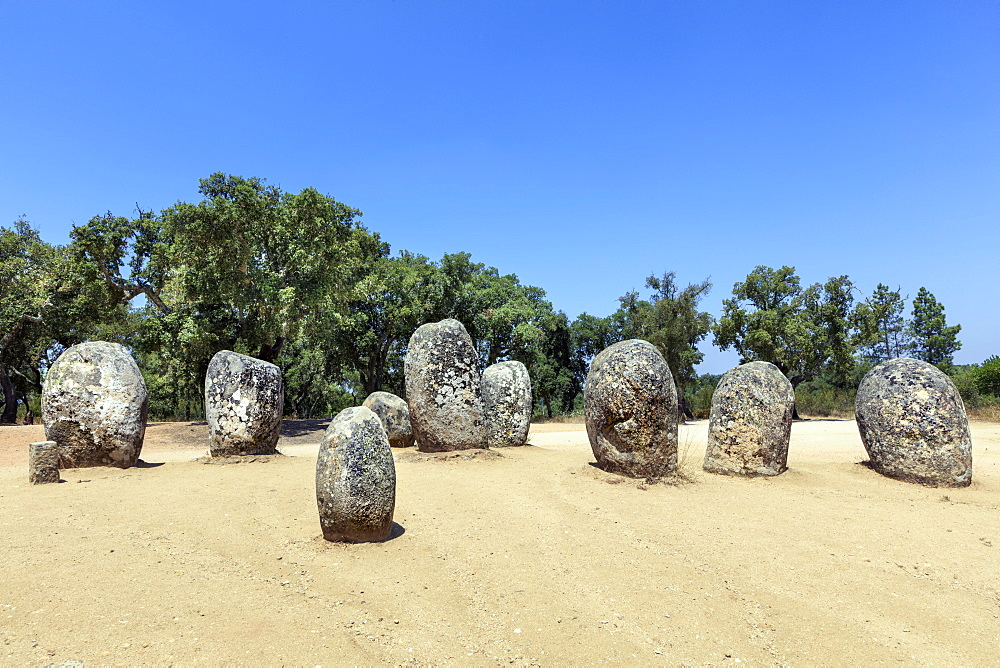 The Cromlech of the Almendres megalithic stone circle near Evora, Alentejo, Portugal, Europe