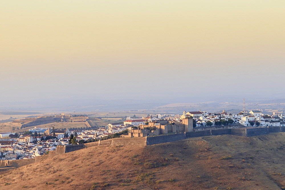 View of the walled and fortified city of Elvas, UNESCO World Heritage Site, Alentejo, Portugal, Europe