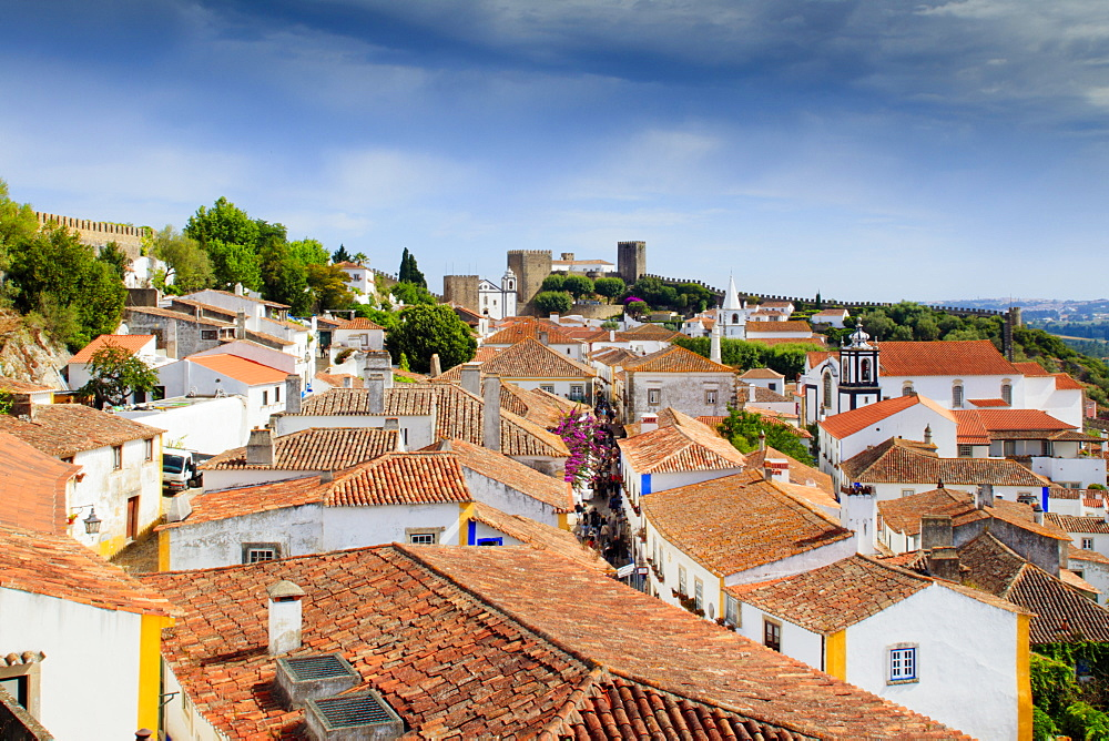 Streets and castle in the medieval walled village of Obidos in Portugal's Centro region
