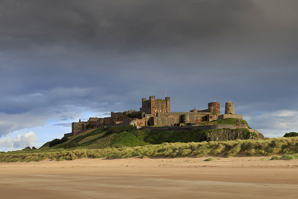 Bamburgh Castle and beach near Lindisfarne, Northumberland, England, United Kingdom, Europe - 1176-811