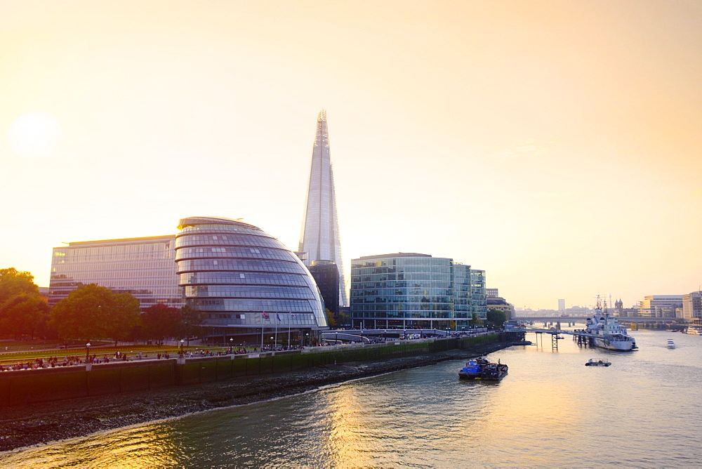 The Shard, City Hall and Thames Path at sunset, London, England, United Kingdom, Europe - 1176-815