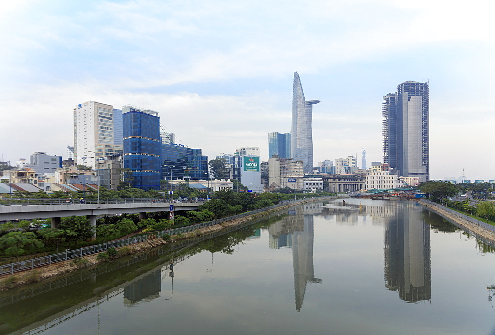 The view of the Bitexco Tower in Ho Chi Minh City (Saigon) centre and a canal off the Saigon River, Vietnam, Indochina, Southeast Asia, Asia - 1176-885