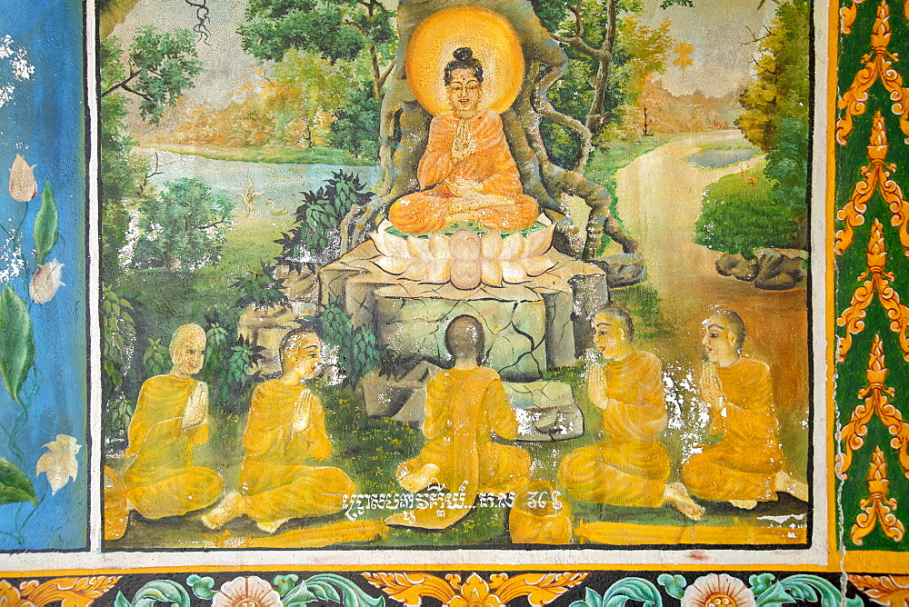 Mural showing scenes from the life of the Buddha