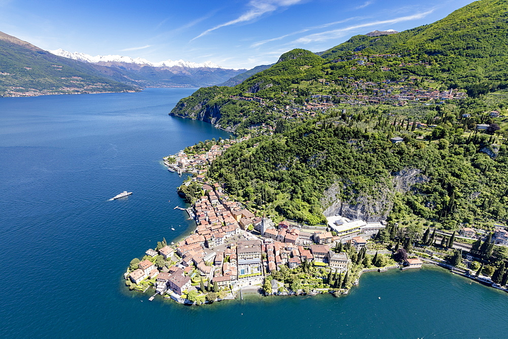Aerial view of the picturesque village of Varenna surrounded by Lake Como and gardens, Lecco Province, Italian Lakes, Lombardy, Italy, Europe