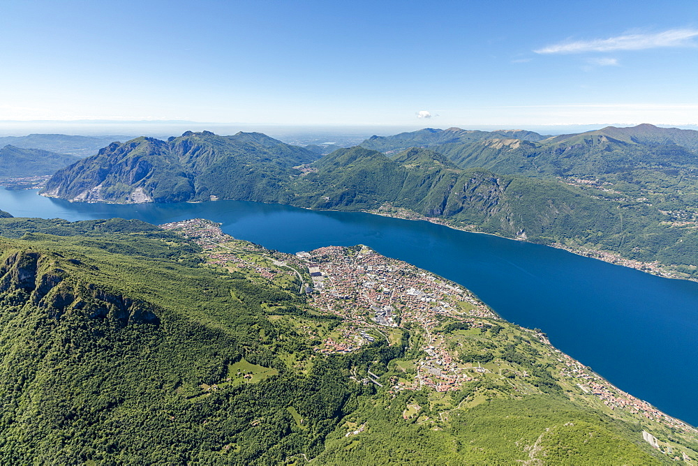 Aerial view of the villages Mandello del Lario and Abbadia Lariana overlooking Lake Como, Lecco Province, Italian Lakes, Lombardy, Italy, Europe