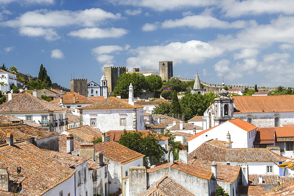 View of the ancient castle of Obidos originated in an early Roman settlement, Obidos, Oeste Leiria District, Portugal, Europe