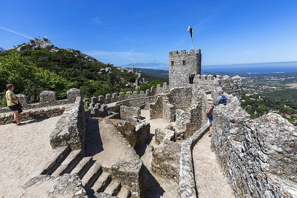 View of the ancient Castelo dos Mouros with its stone tower, Sintra municipality, Lisbon district, Portugal, Europe