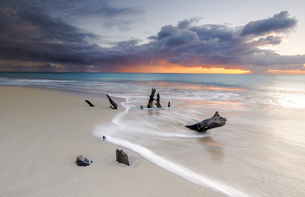 Caribbean sunset frames tree trunks on Ffryes Beach, Antigua, Antigua and Barbuda, Leeward Islands, West Indies, Caribbean, Central America
