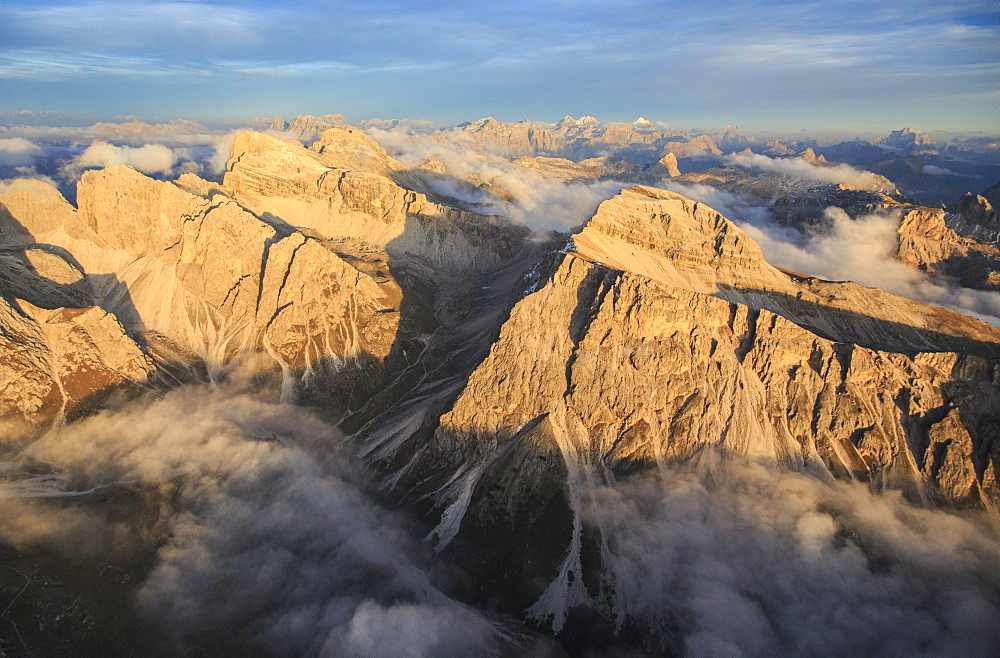 A helicopter flight is the perfect way to enjoy the majesty of the Dolomites, South Tyrol, Italy, Europe