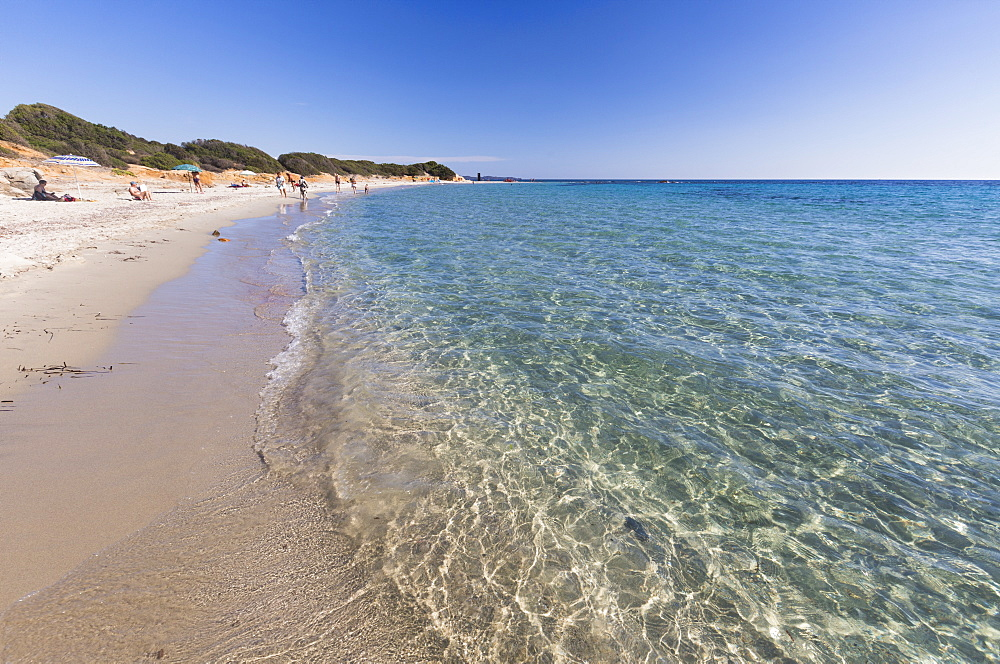 The crystal turquoise water of the sea frames the sandy beach, Sant Elmo Castiadas, Costa Rei, Cagliari, Sardinia, Italy, Mediterranean, Europe