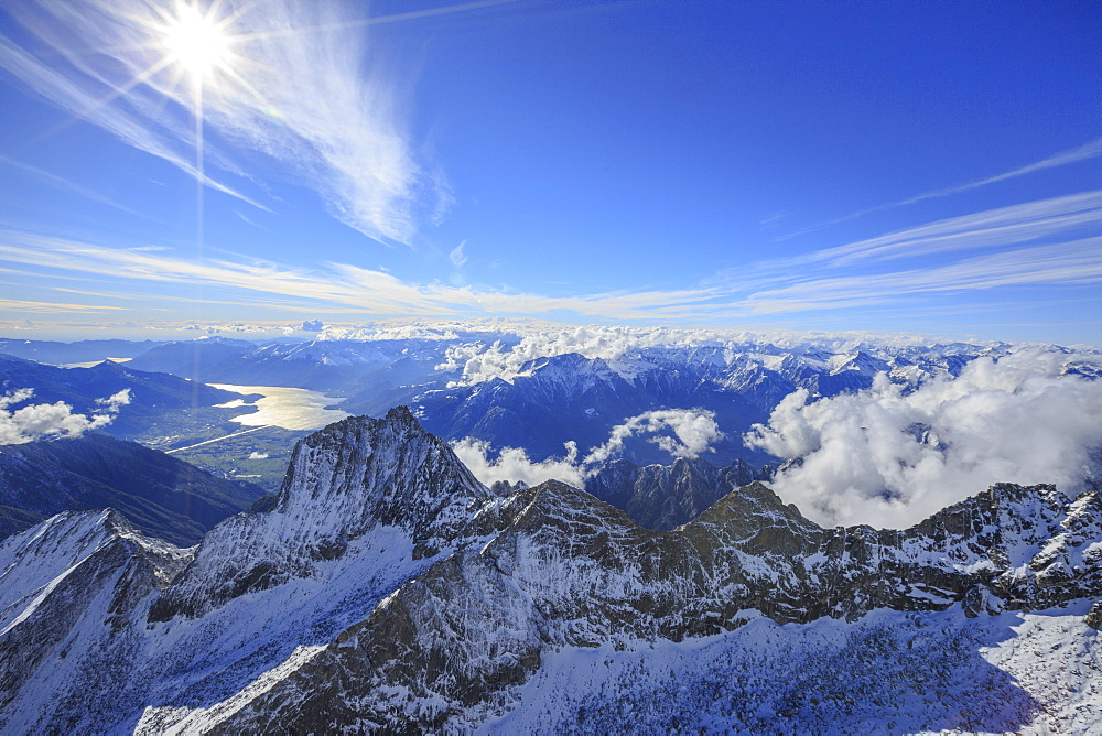 Aerial view of Sasso Manduino and Lake Como in the background, Val Dei Ratti, Chiavenna Valley, Valtellina, Lombardy, Italy, Europe