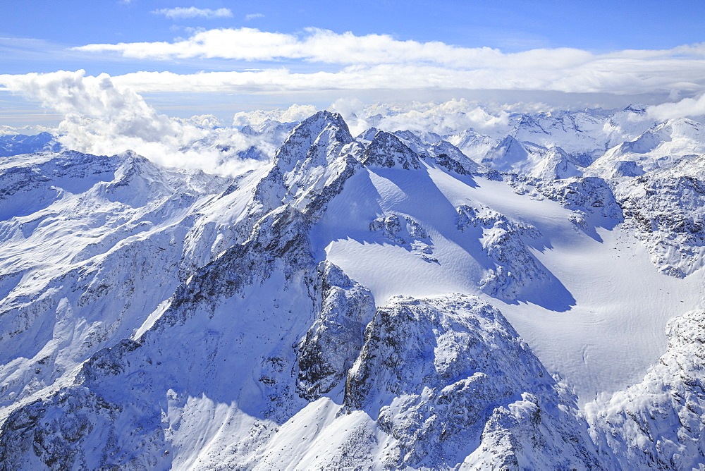 Aerial view of Peak Ferra and Peaks Piani covered with snow, Spluga Valley, Chiavenna, Valtellina, Lombardy, Italy, Europe