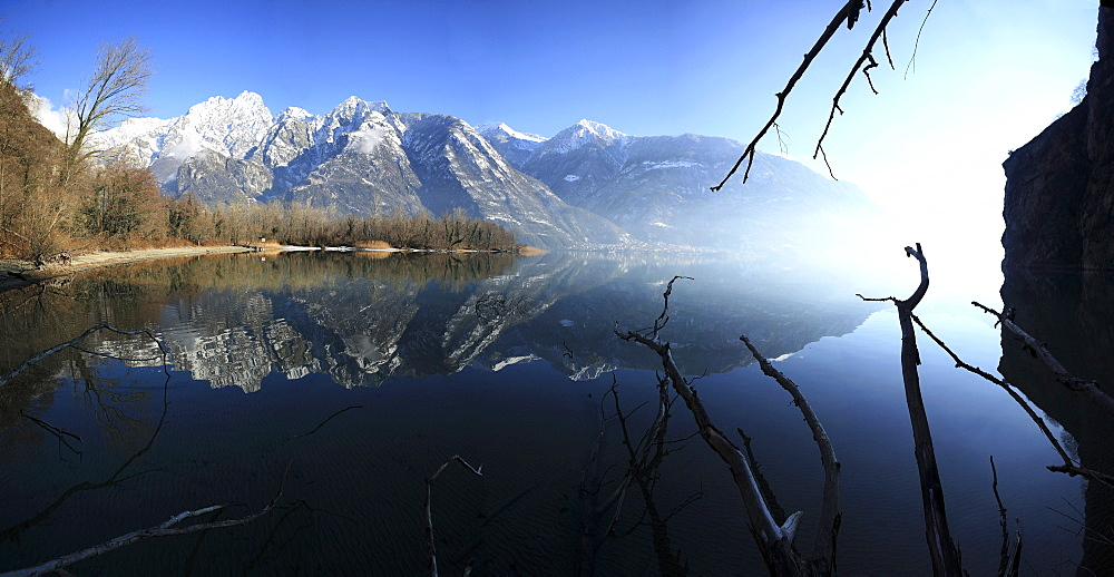 Panoramic view of Lake Mezzola in the fall, Chiavenna Valley, Valtellina, Lombardy, Italy, Europe