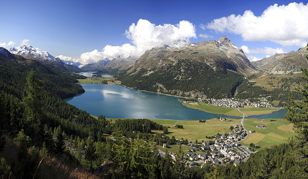 Panoramic view of Lakes Silvaplana and Surley, Julier Pass, Engadine, Canton of Graubunden, Switzerland, Europe