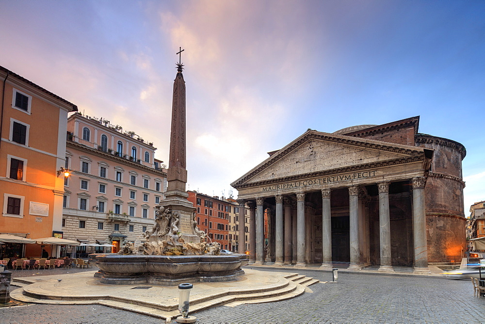 View of old Pantheon, a circular building with a portico of granite Corinthian columns and fountains, UNESCO World Heritage Site, Rome, Lazio, Italy, Europe