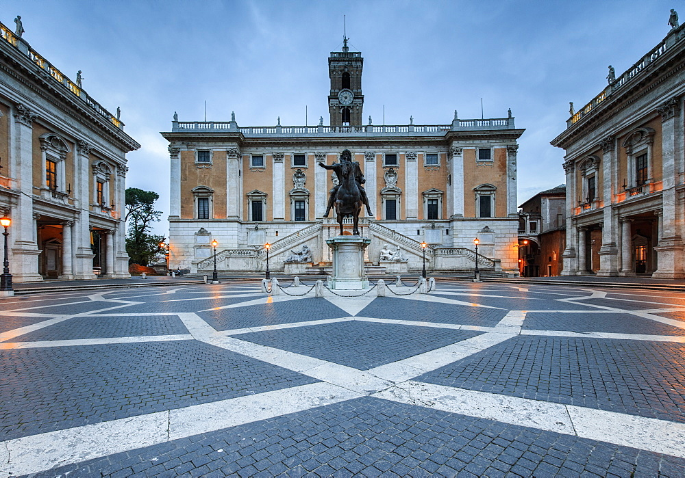 Piazza del Campidoglio where Roman Divinities were praised and nowadays headquarters of the Government, Rome, Lazio, Italy, Europe
