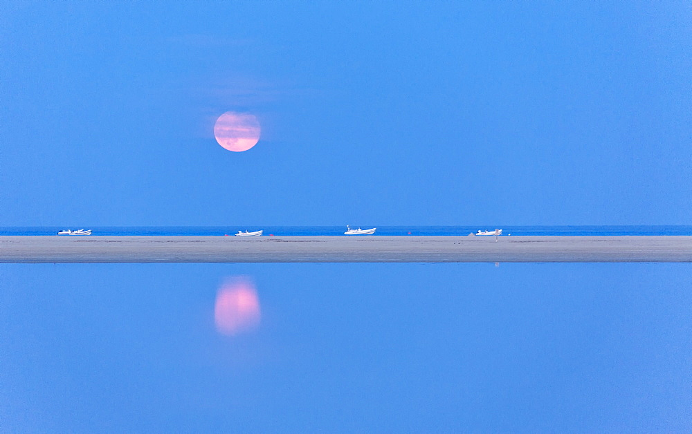 The pink full moon is reflected in the blue water of the Notteri pond Villasimius Province of Cagliari Sardinia Italy Europe