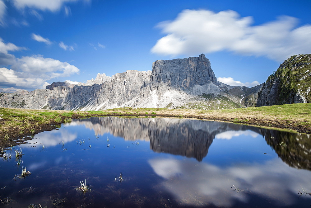 The Lastoni de Formin reflecting in the Lake at Passo Giau, Dolomiti Ampezzane, Cadore, Veneto, Italy, Europe