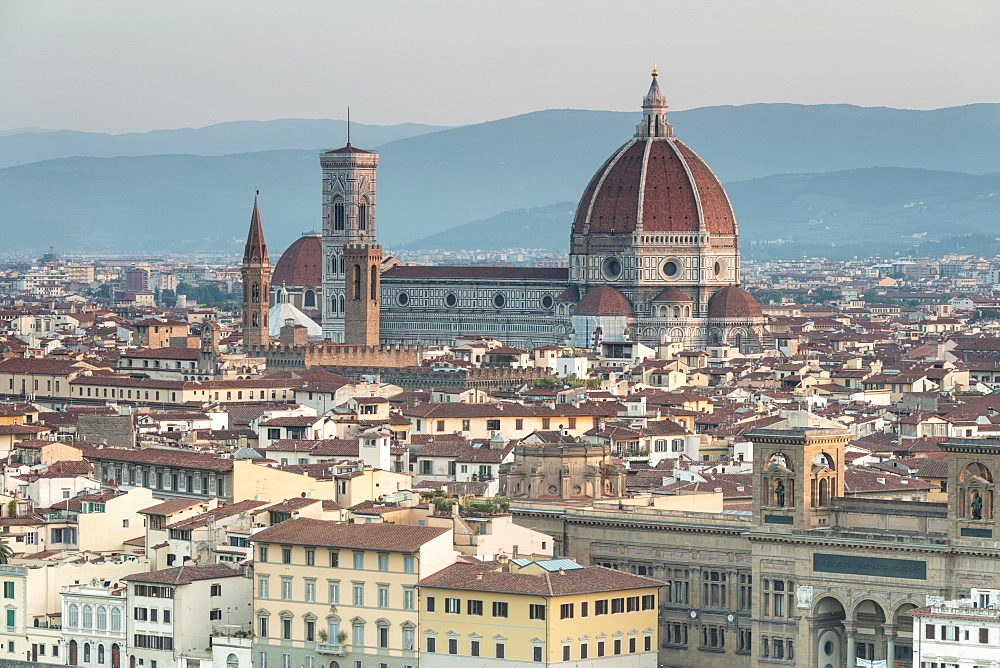 View of the Duomo with Brunelleschi Dome and Basilica di Santa Croce from Piazzale Michelangelo, Florence, UNESCO World Heritage Site, Tuscany, Italy, Europe