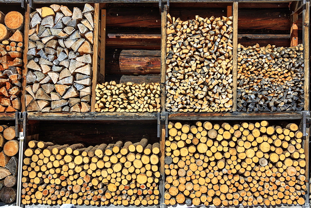 Details of firewood stack, Switzerland, Europe