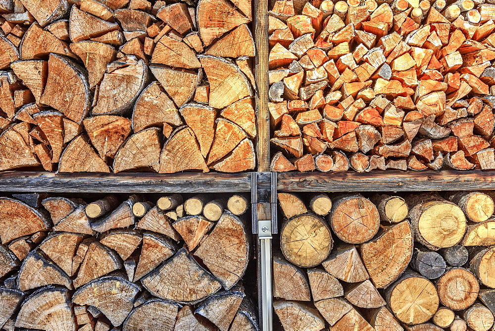 Close up details of firewood stack, Switzerland, Europe