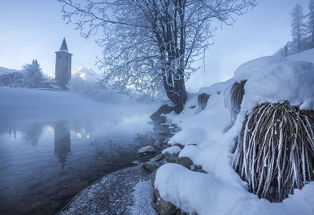 Ice and frost covering the banks of River Inn in Lower Engadine, the morning mist hiding the bell tower of the church in Sils, Graubunden, Switzerland, Europe